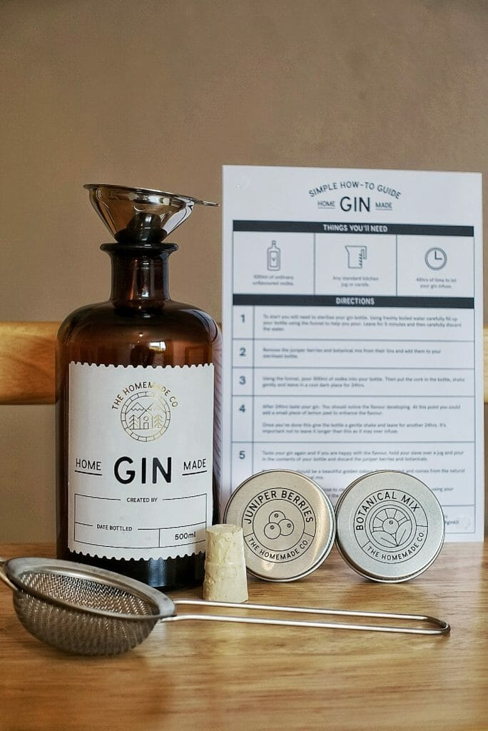 The contents of the Homemade gin kit