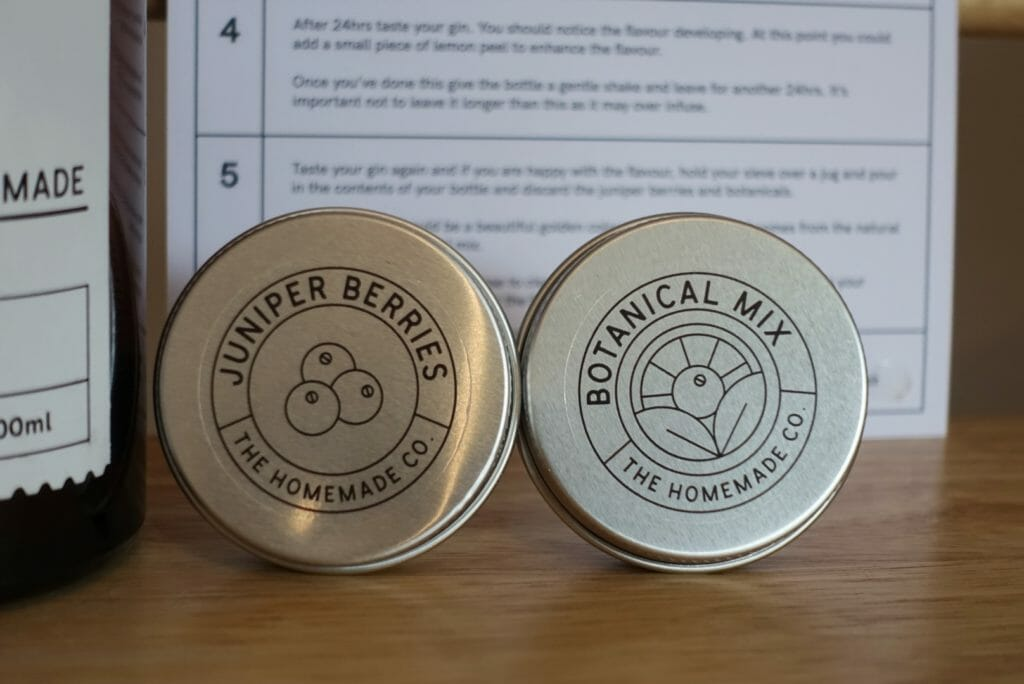Close up of the closed tins used for the botanicals and juniper berries