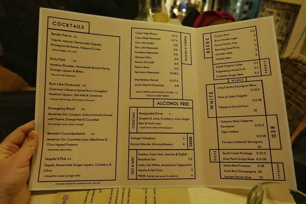 Cocktail & drink menu with a non alcoholic section