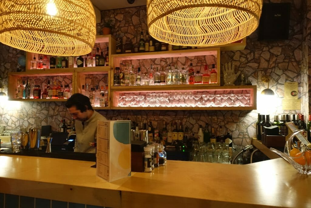 View of the back bar with rattan light shades