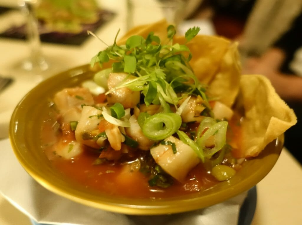 Ceviche with a tomato based sauce, served with tortillas and spring onions and coriander as garnish