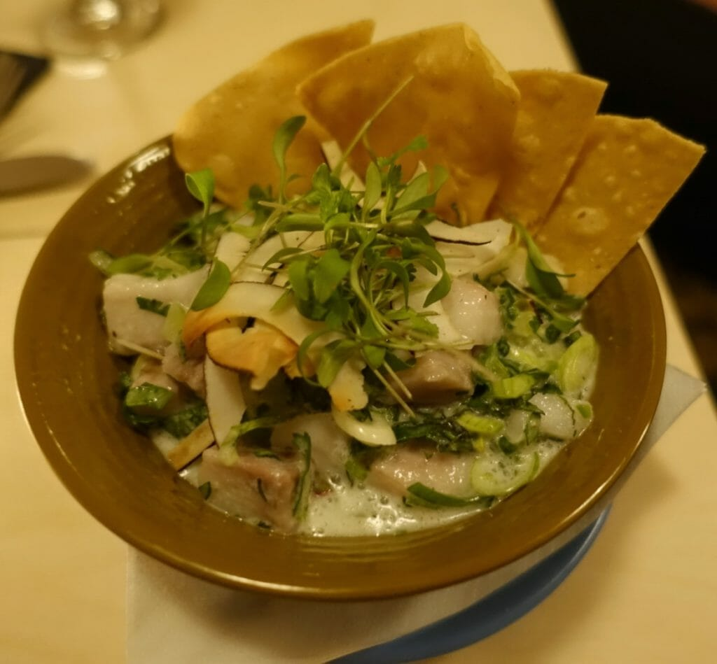 Ceviche Yucatan with a white coconut sauce, tortillas and red onion and coriander garnish