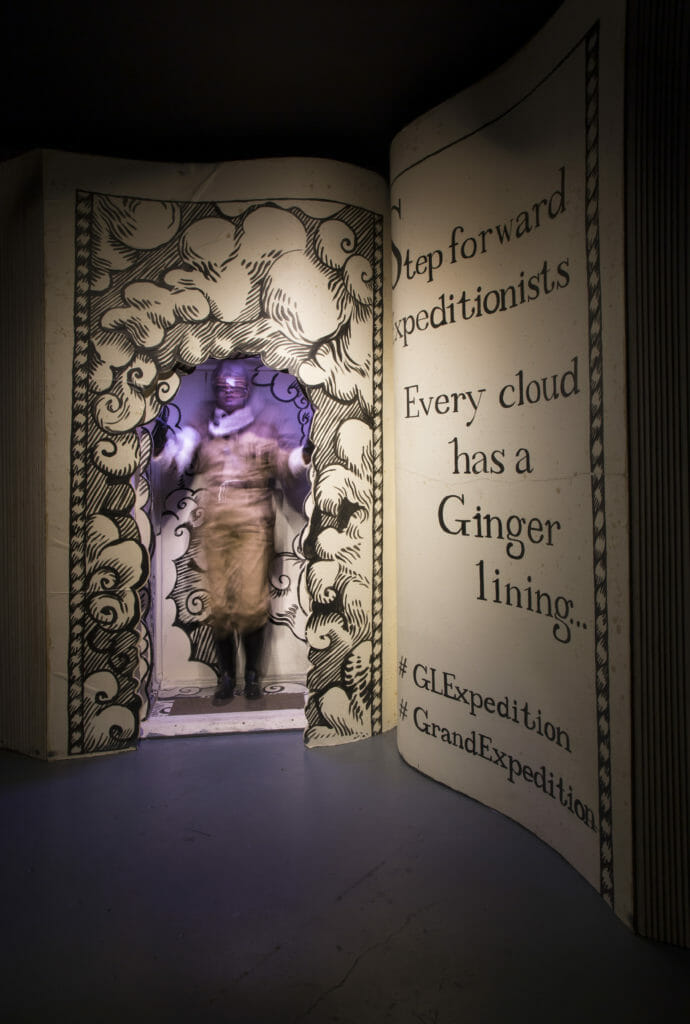 Official photo from Gingerline of the entrance way stating Every cloud has a Ginger lining