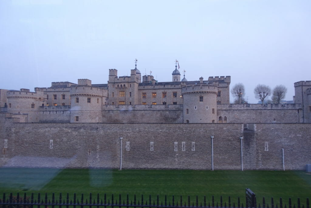 The Tower of London through the bus window