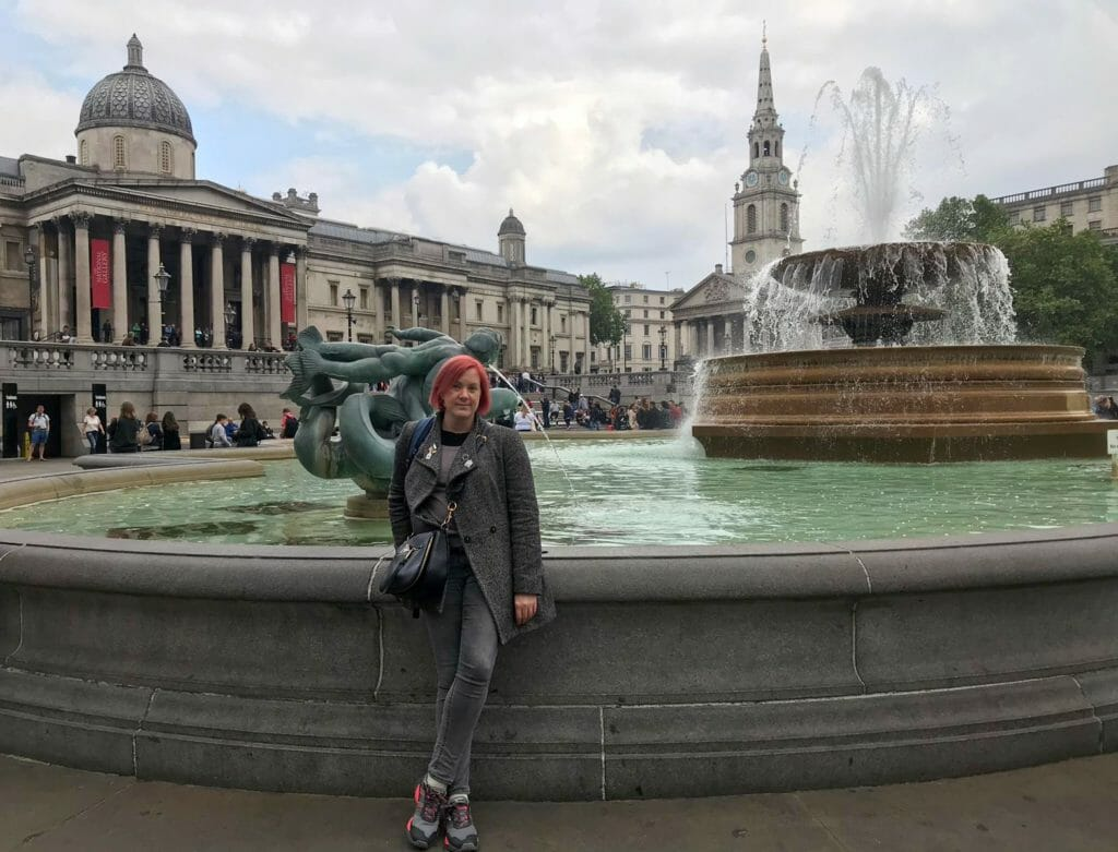 Katie in front of the fountain in Trafalgar Square outside the National Gallery