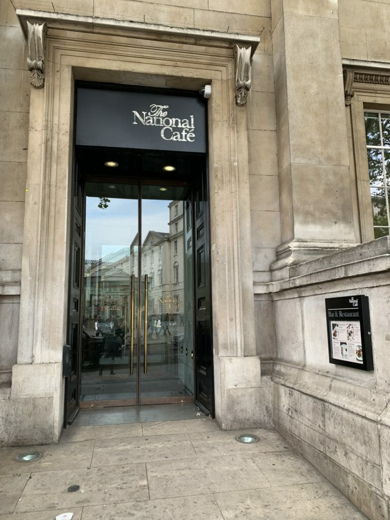 Entrance to the National Gallery Cafe from Charing Cross road