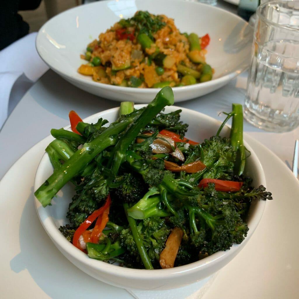 Bowl of broccoli with garlic and chili
