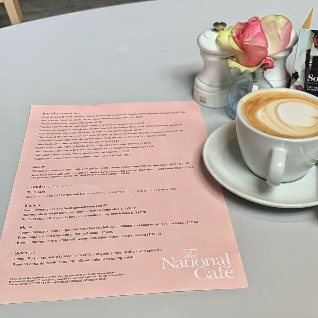 Pink brunch menu on grey table with latte cup and rose