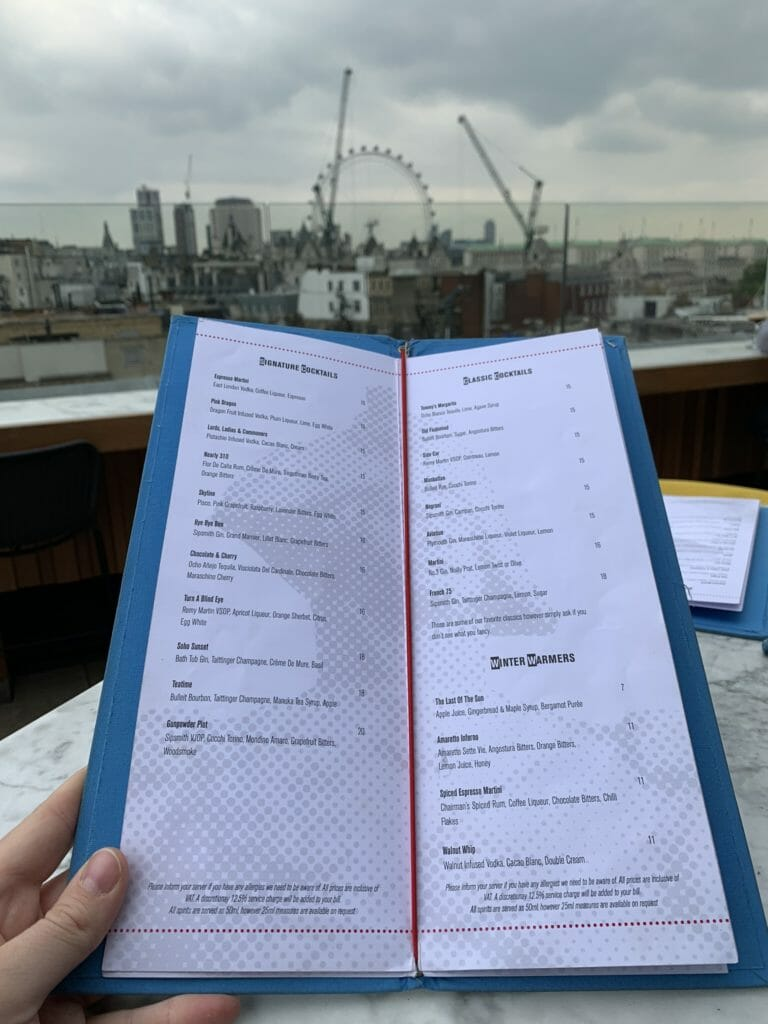Menu with the London Eye in the background