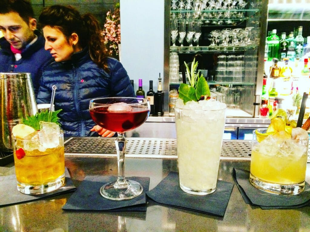 4 cocktails lined up on the Sky Garden bar