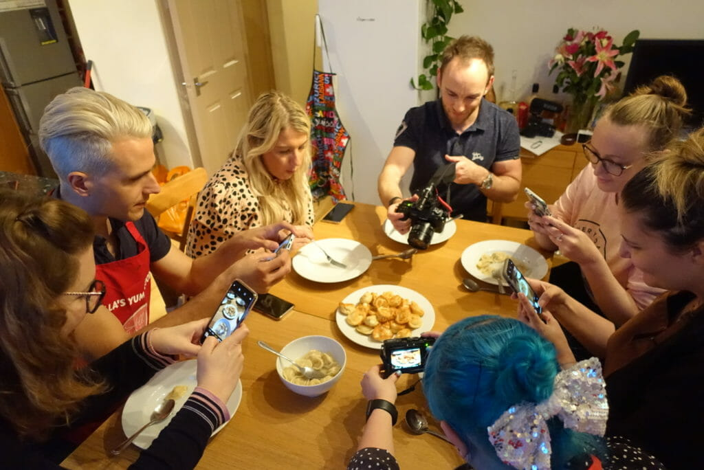 Everyone taking photos of the cheese dumplings!
