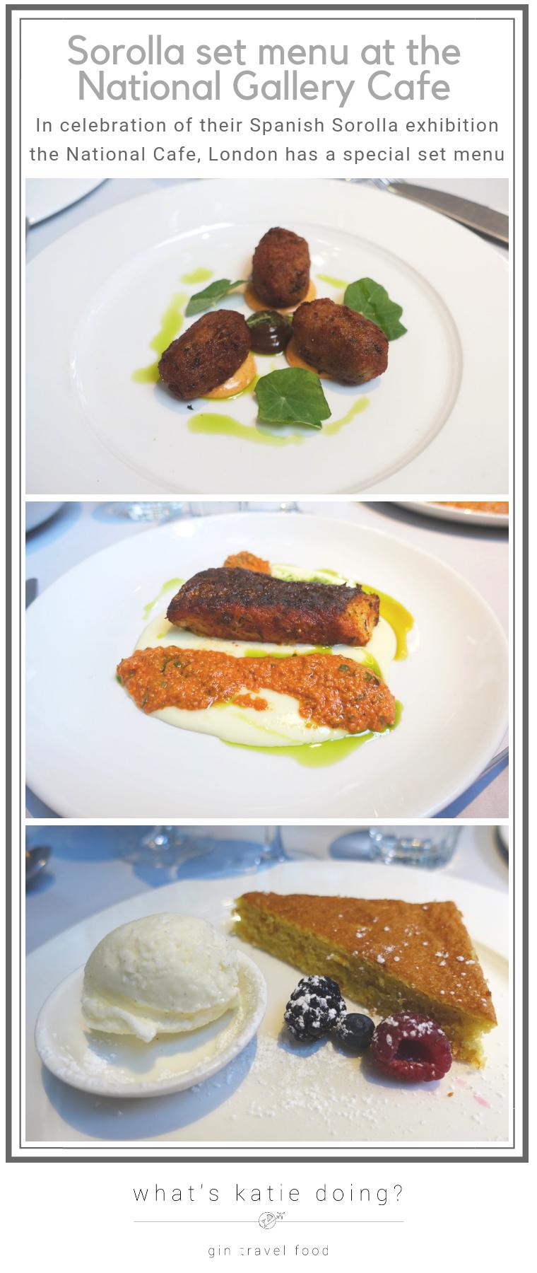 Sorolla set menu at the National Gallery Cafe London