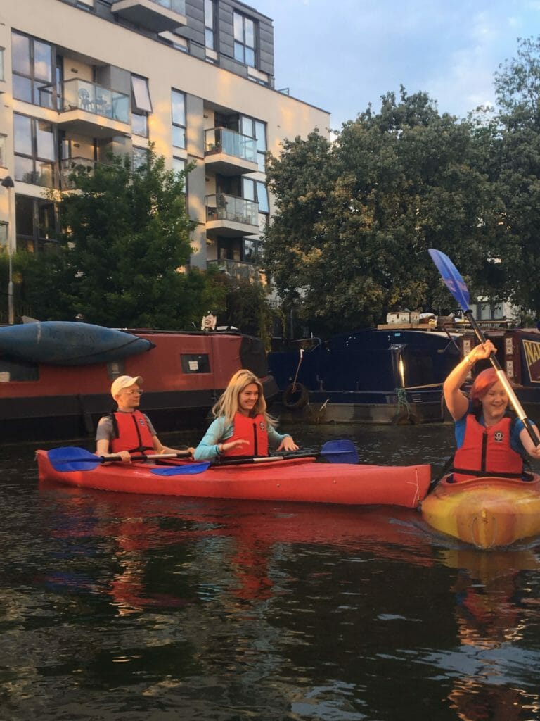Katie and the two person kayak bumping