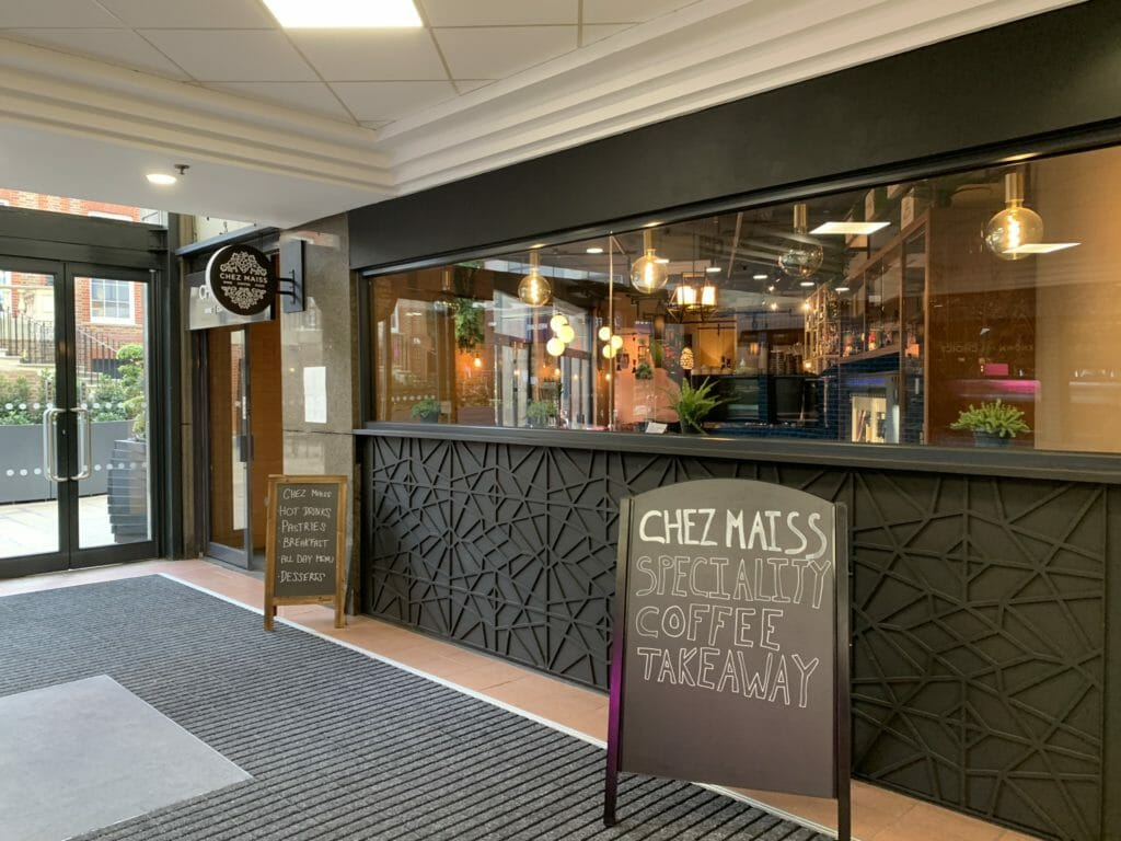 Entrance to Chez Maiss inside the Broadway shopping centre at Hammersmith