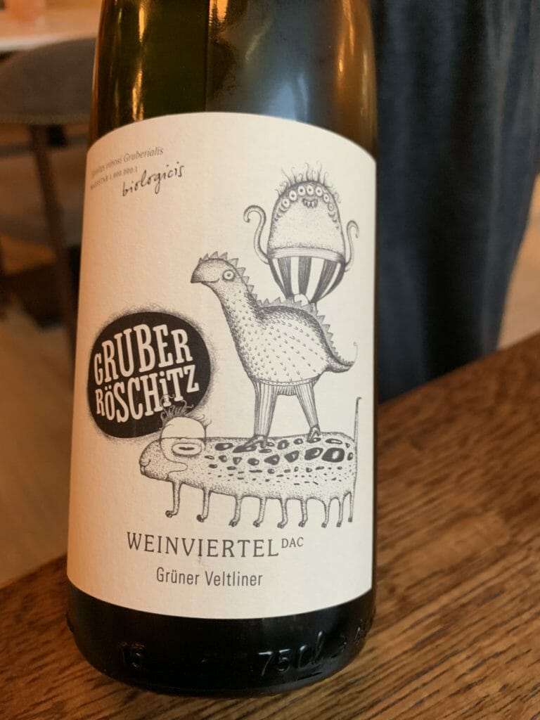 Cute label illustration on the Austrian Gruner Veltliner wine