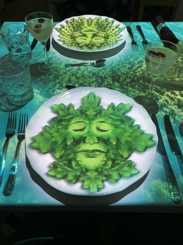Green leaf face on my plate