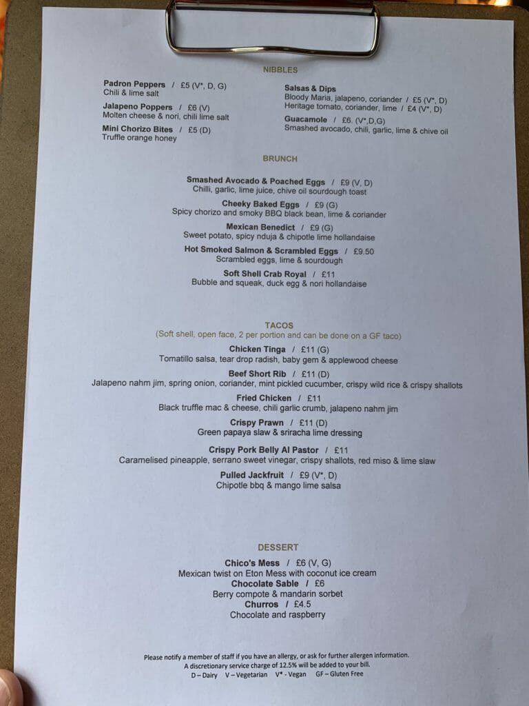 Close up of the brunch menu at Cheeky Chicos