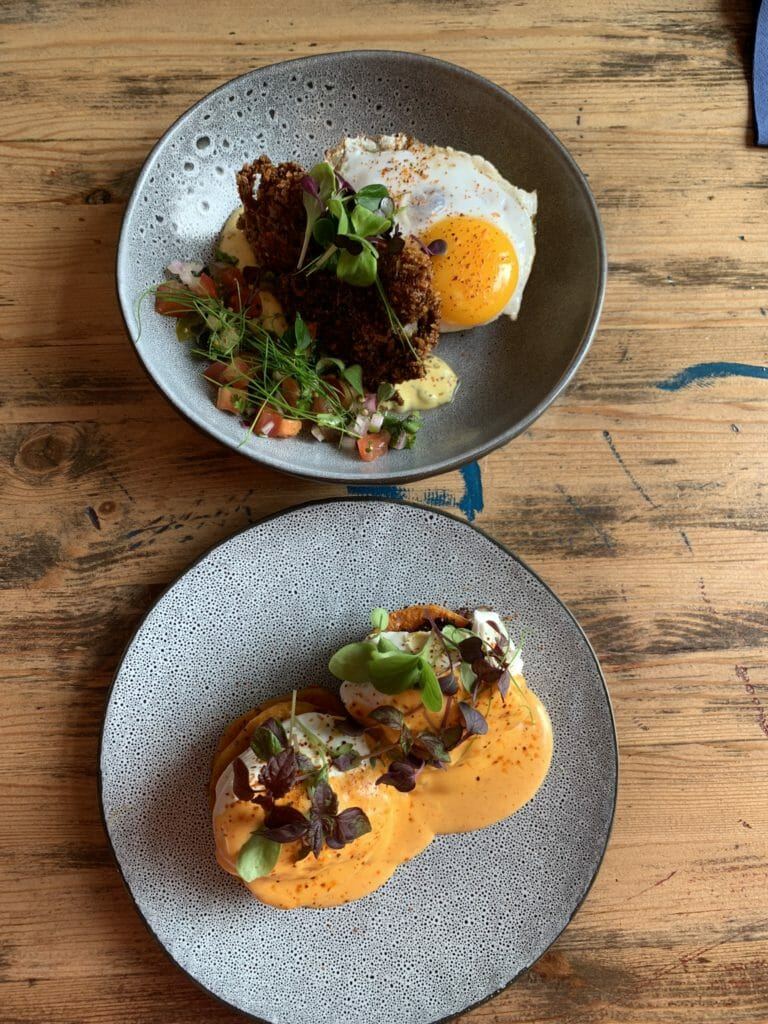 Two brunch plates on the table