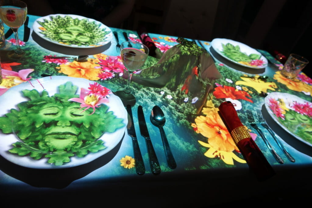 Table with images of faces and flowers projected on to it