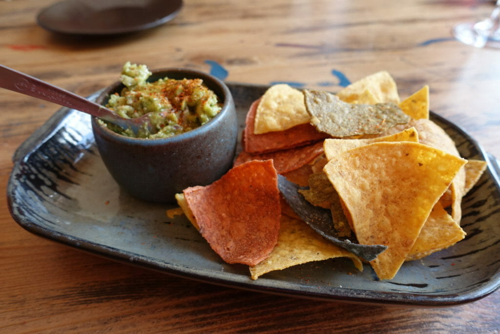 Close up of the guacamole and tortilla chips