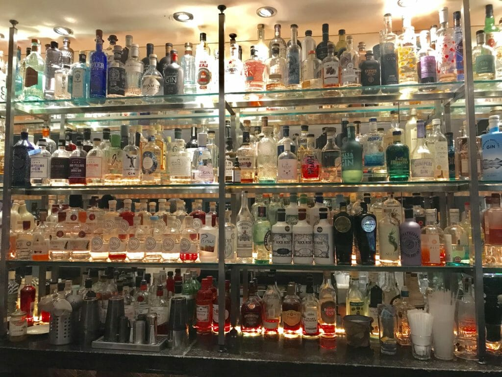 The well stocked back bar at 56 North bar