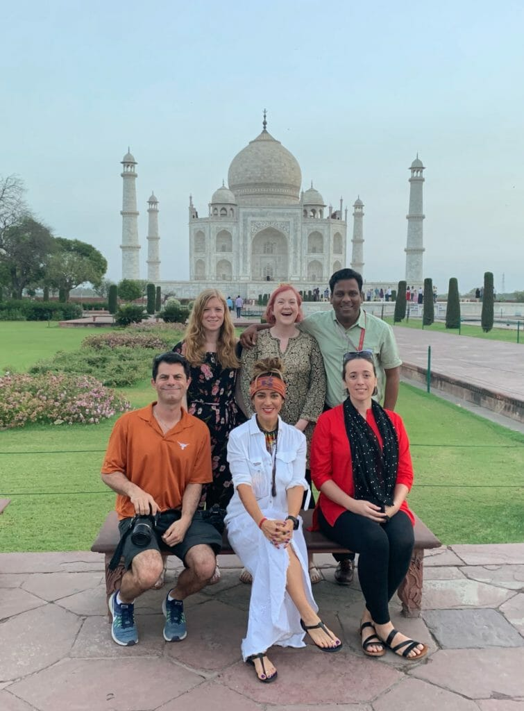 The group posing in front of the Taj Mahal