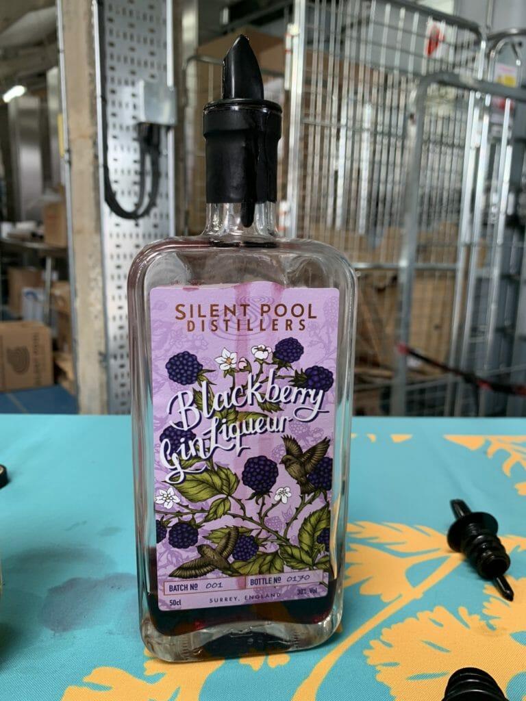 Bottle of blackberry gin liqueur