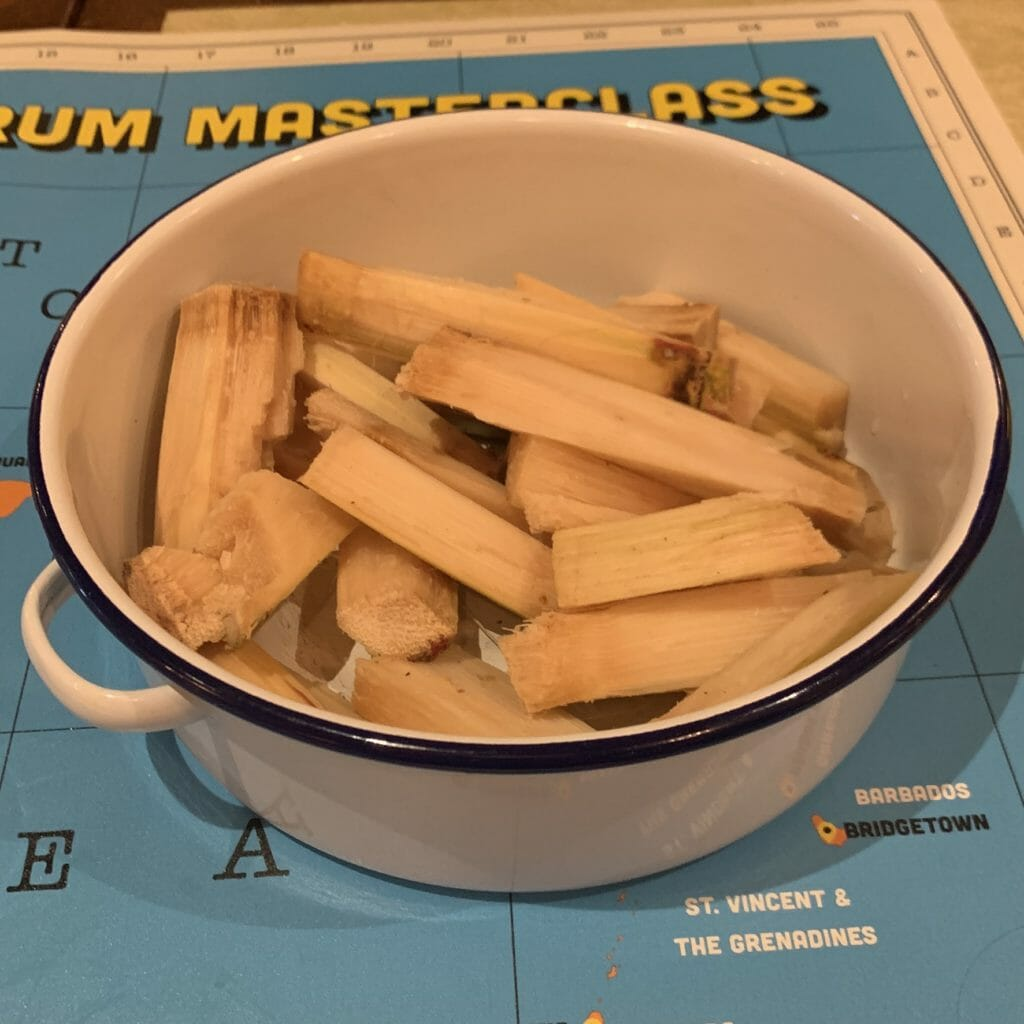 Sugar cane samples in a bowl ready to eat