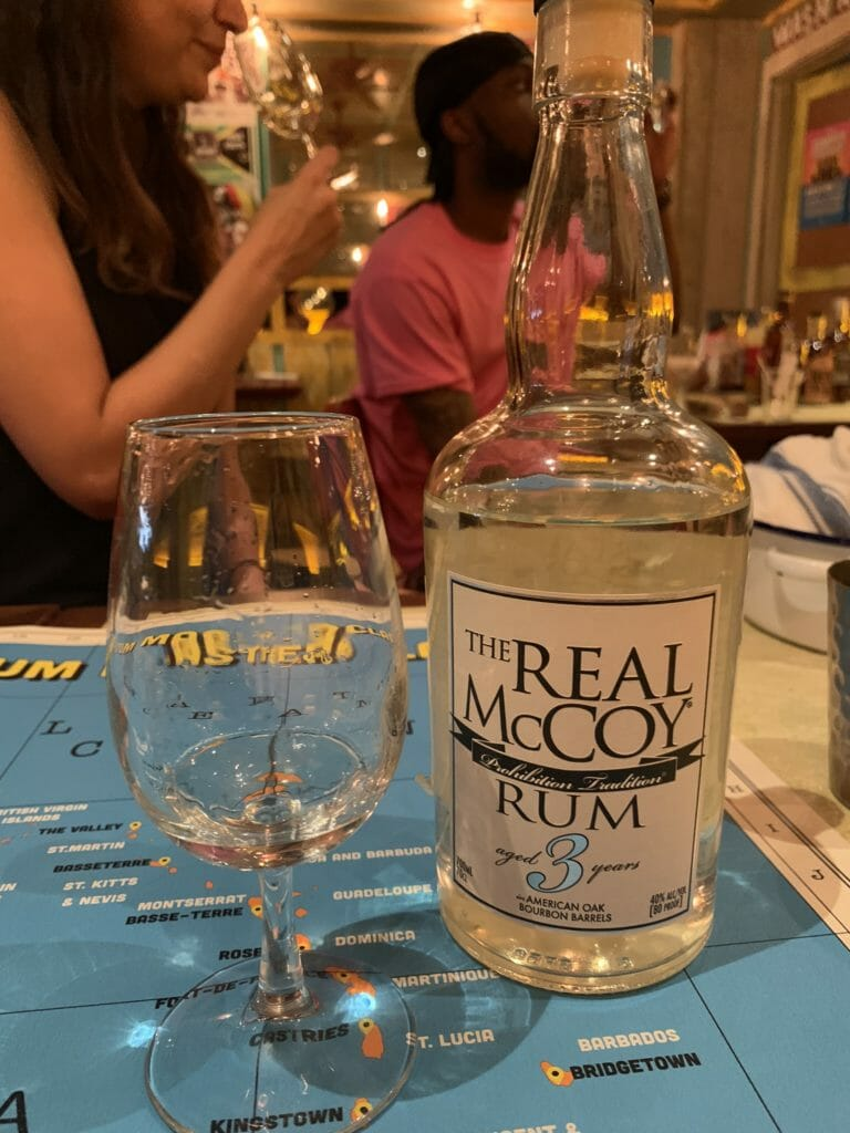 Bottle and glass of The Real McCoy rum