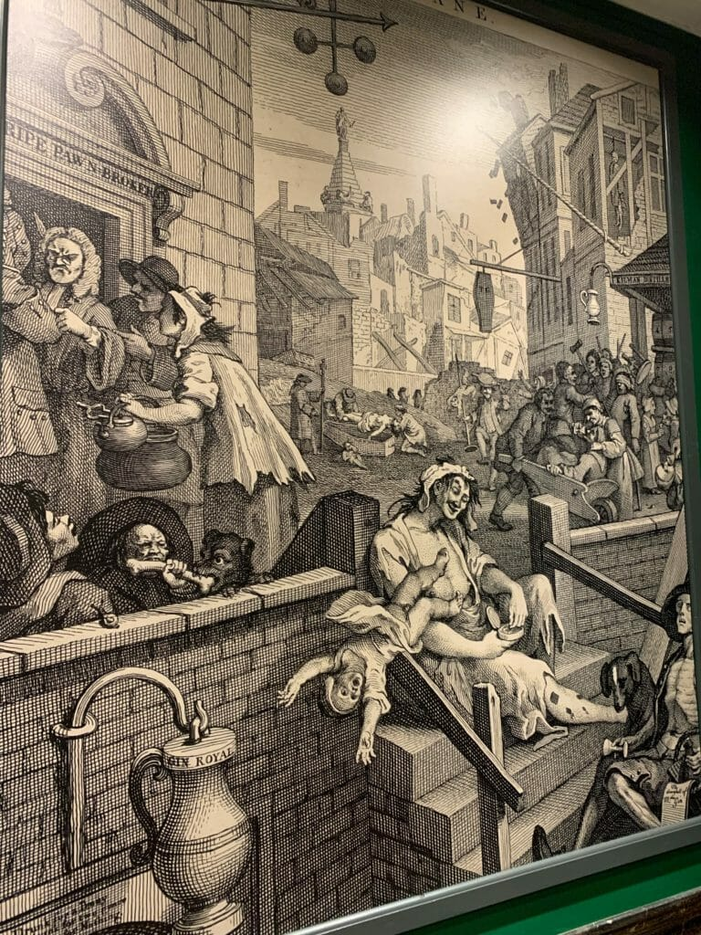 Print of the Gin Lane etching by Hogarth