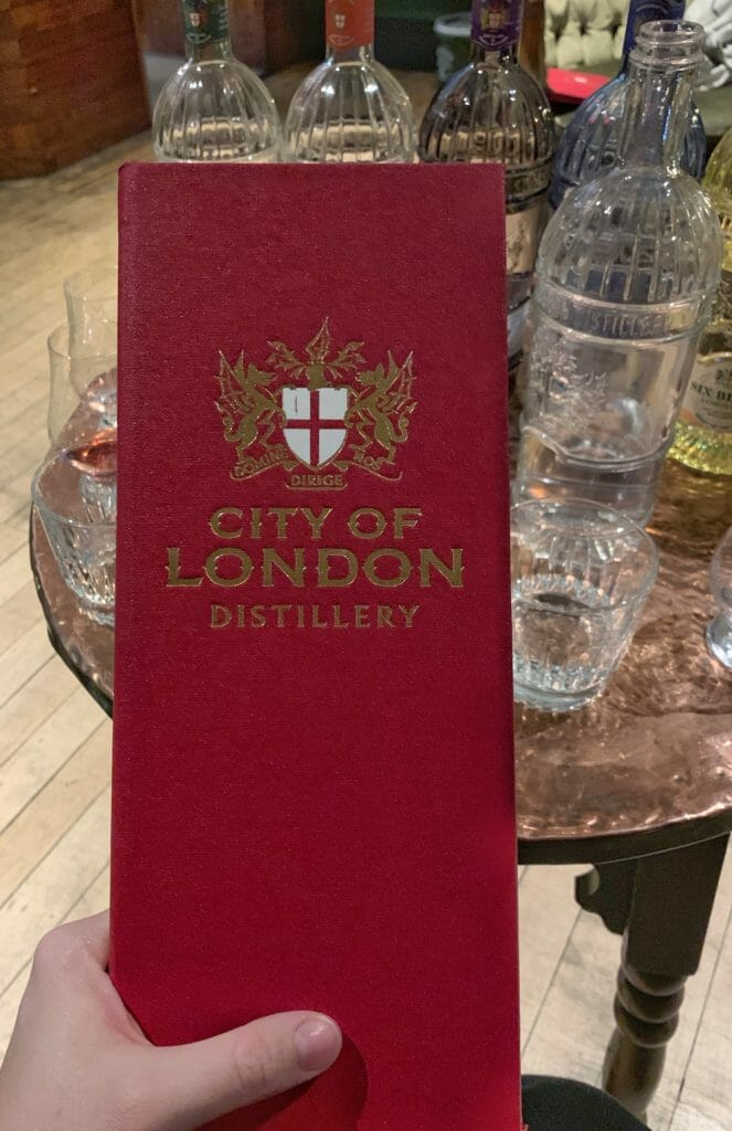 City of London Distillery red embossed menu
