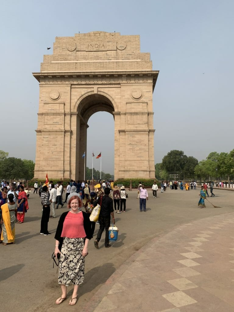 Katie in front of India gate
