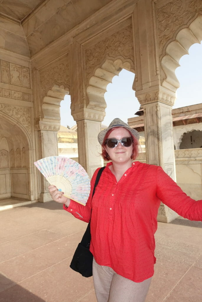 Katie with hand fan in Agra fort