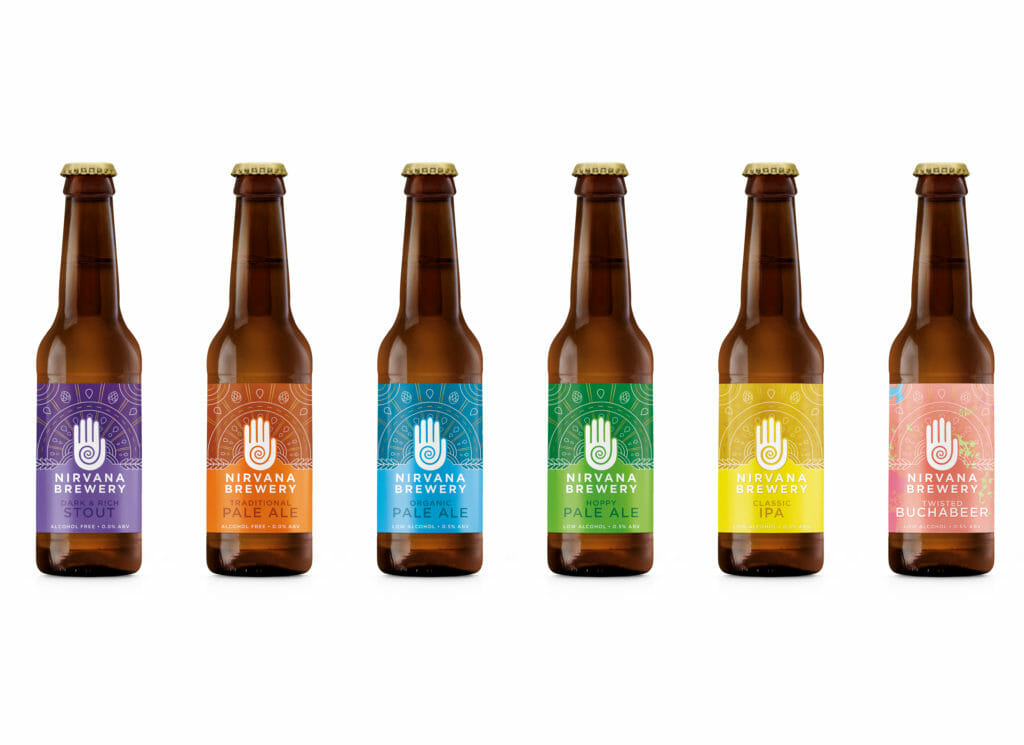 Line up of the 6 low or no alcohol beers from Nirvana Brewery