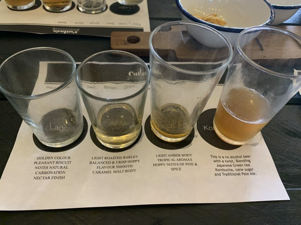 Line up of the beers we tried at the tasting