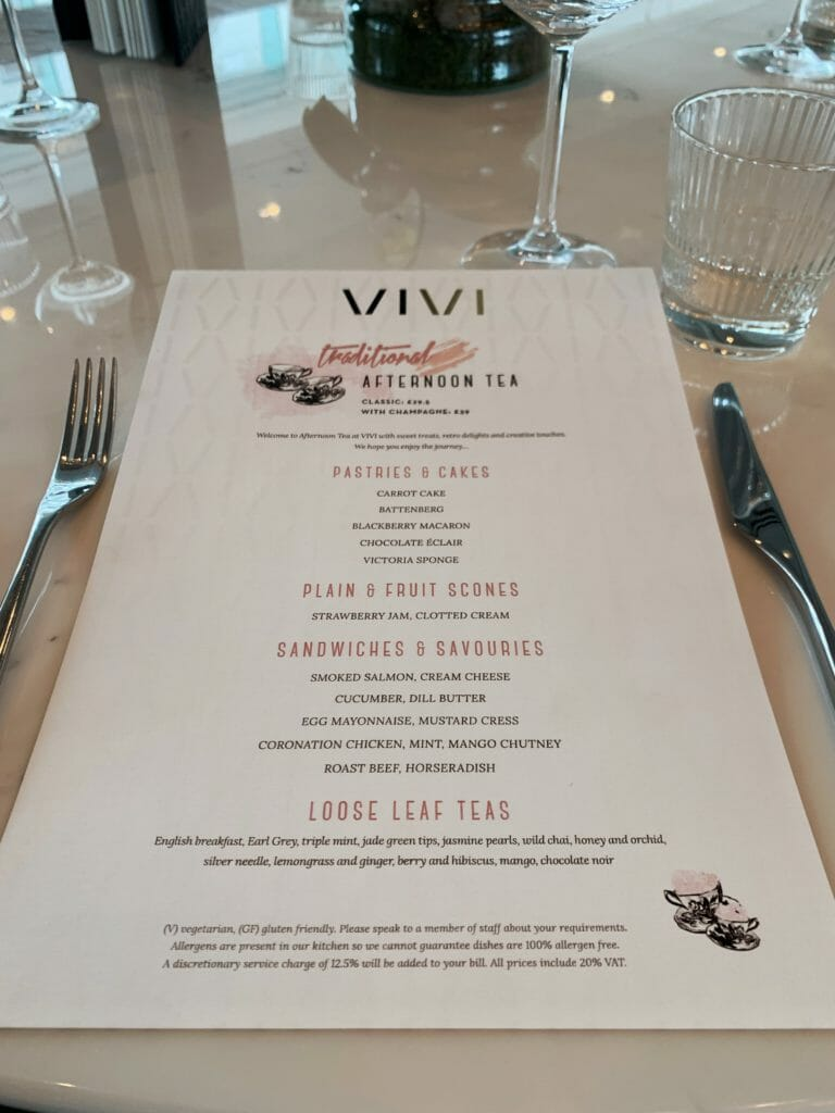 The Vivi afternoon tea menu