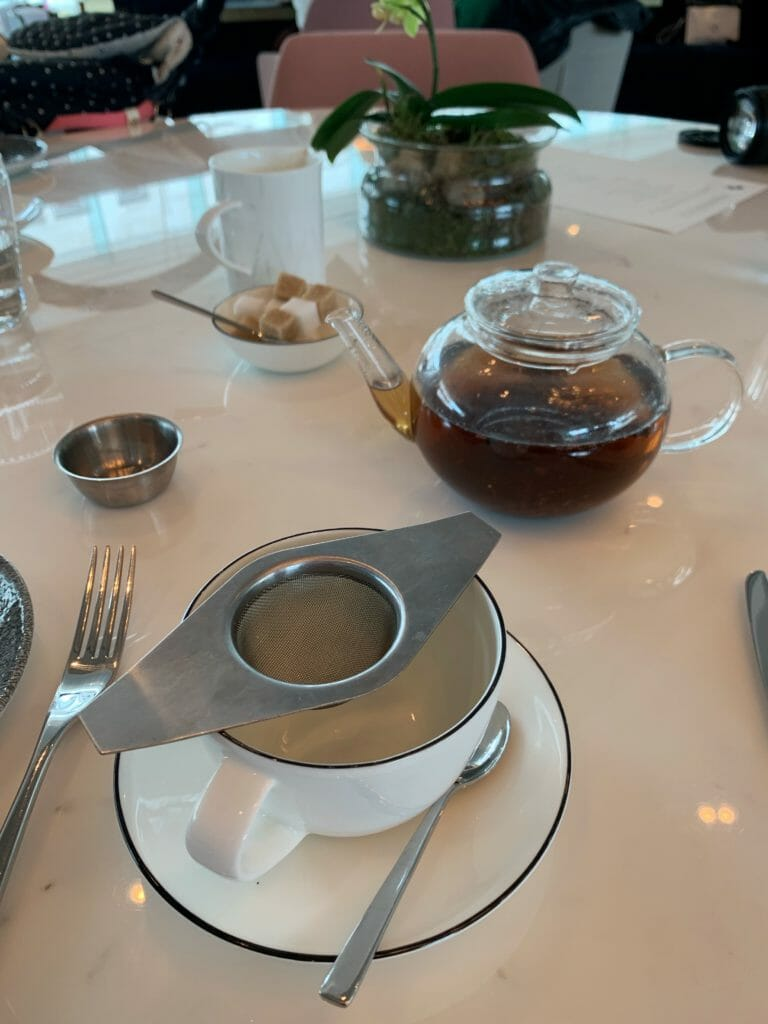 Tea in a see through glass teapot