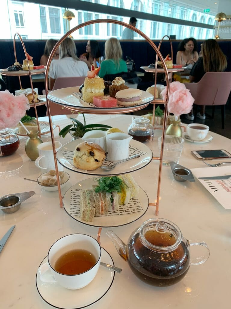 Afternoon tea at Vivi, presented on individual stands and with glass tea pots
