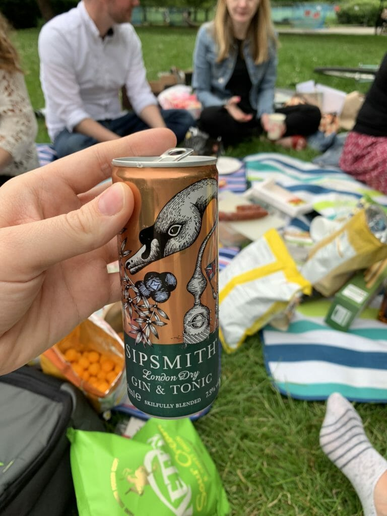 Sipsmith gin and tonic at the picnic