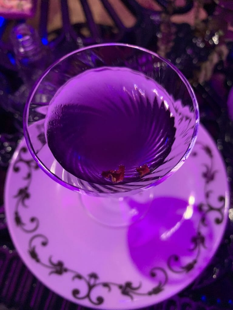 Purple lit blue martini at the Hendrick's gin tini martini event