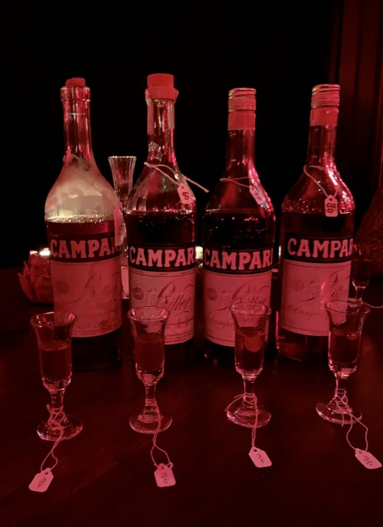 Vintage bottles of Campari lined up