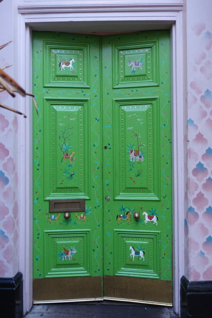 The green door at the entrance to the restaurant