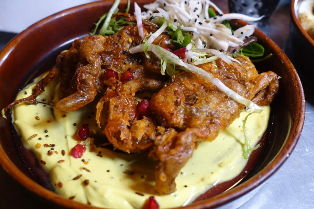 Battered and fried soft-shell crab