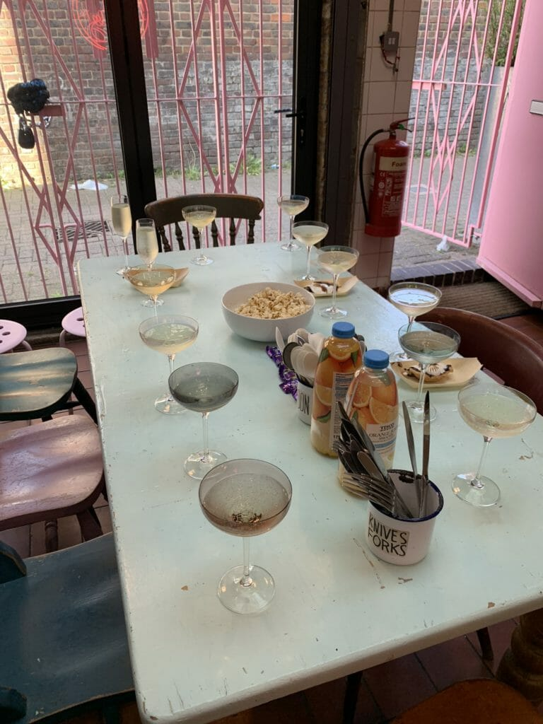 Table with glasses of prosecco