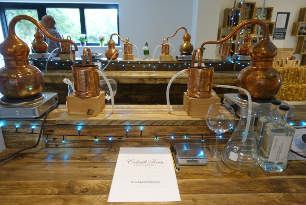 Mini stills set up in the visitor centre for the gin masterclass