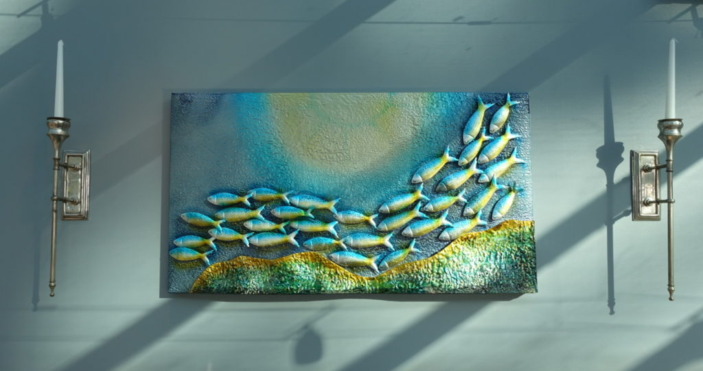 Fish art work on the wall
