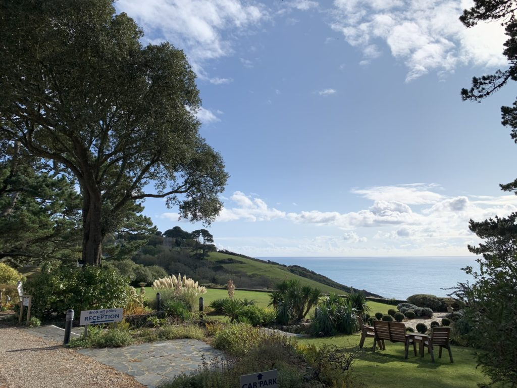 View from Talland Bay Hotel drive across the gardens out to sea