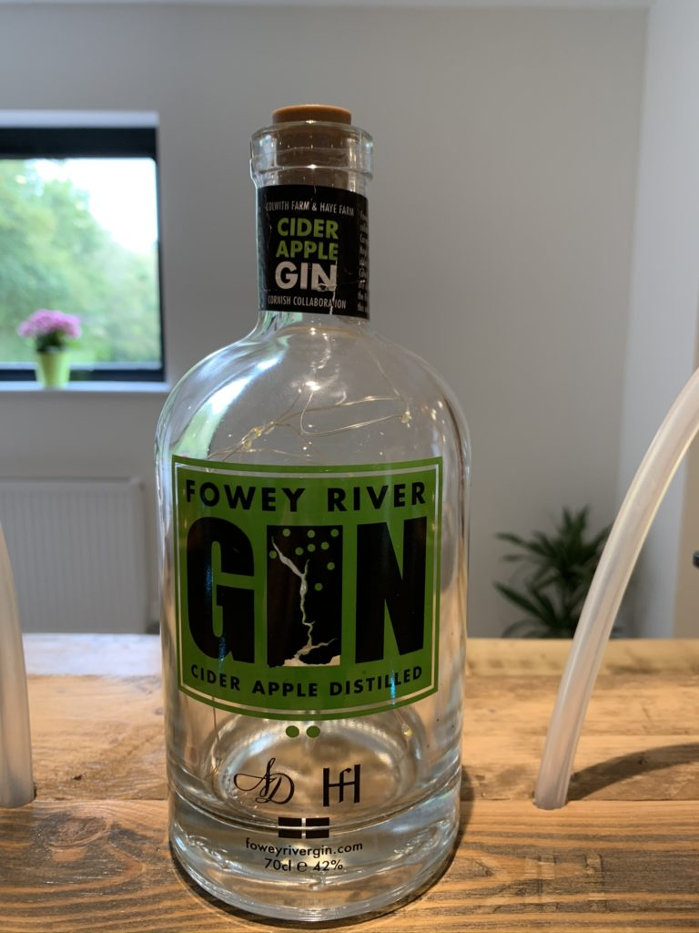 Fowey River gin with green label