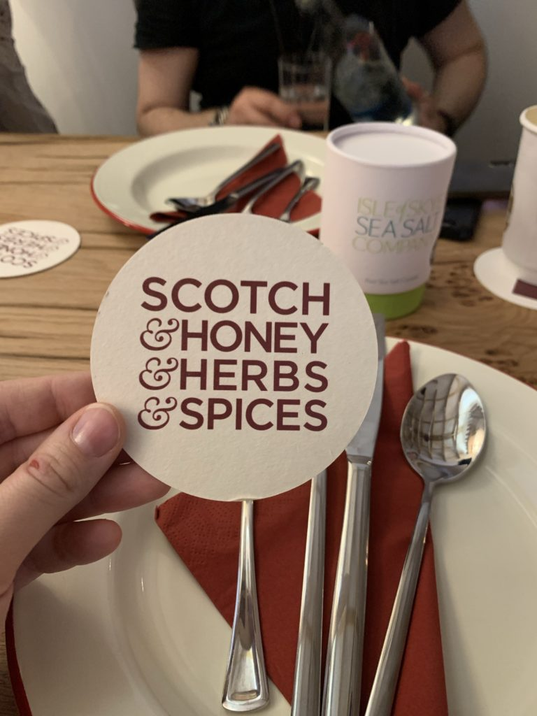 Coaster with Scotch, Honey, Herbs, Spices