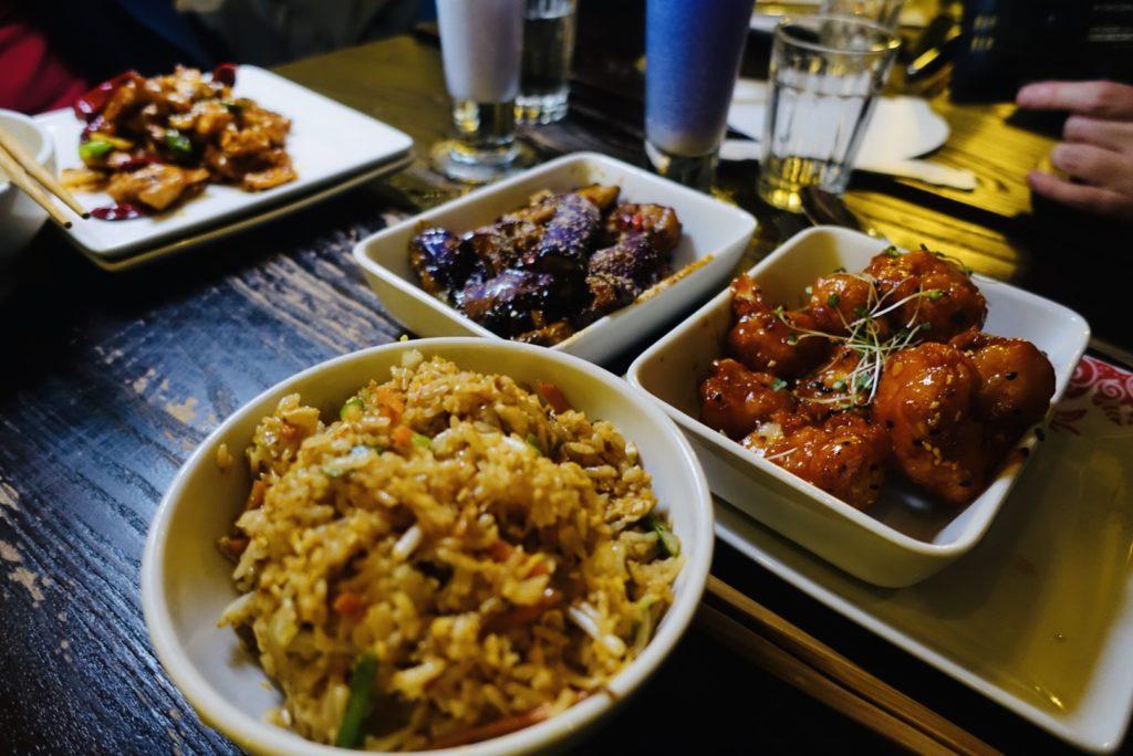 Egg Fried Rice, Chilli Aubergine and wok-seared tempura cauliflower veggie dishes at PF Chang's